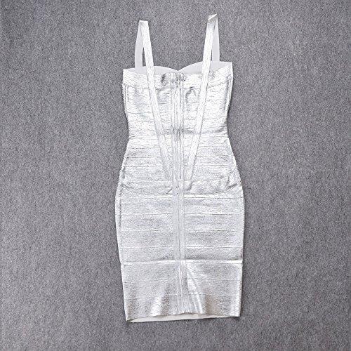 HLBandage Spaghetti Bügel Damen Kunstseide Mini Verband Kleid Silber