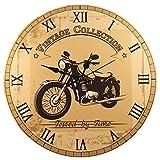 """Orologio da Parete – """"Motocicletta Vintage – Testata dal Tempo"""" (28 cm)"""