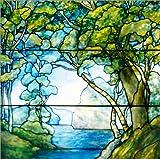 Acrylglasbild 120 x 120 cm: Landschaft mit Zugang zum offenen Meer. Bleiglasfenster aus den Tiffany Studios. 1916. von Tiffany Werkstatt / ARTOTHEK - Wandbild, Acryl Glasbild, Druck auf Acryl Glas ...
