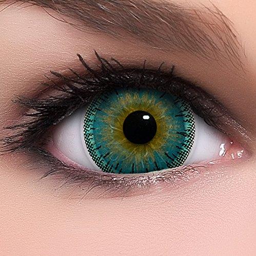 Linsenfinder Lenzera Circle Lenses blaue 'Dolly Blue' ohne Stärke + Kombilösung + Behälter Big Eyes 15mm farbige Kontaktlinsen