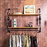 Garderobenständer/Kleiderständer Kleiderständer Retro-Holz Bekleidungsgeschäft Display-Regal Nostalgische Eisen kreative Wand Kleiderbügel Doppel-Handtuchhalter Größe: 90 * 80cm Kleiderbügel/Bücherregale/Regale