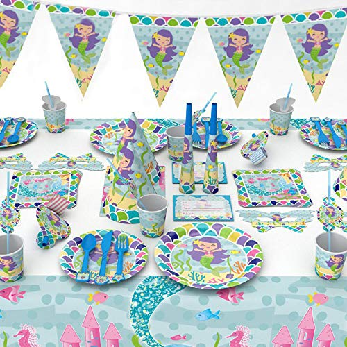 95 Teile/Los 6 Kinder Niedlichen Cartoon Kleine Meerjungfrau Party Set Geschirr Tischabdeckung Teller Servietten Happy Birthday Party Decor & Liefert