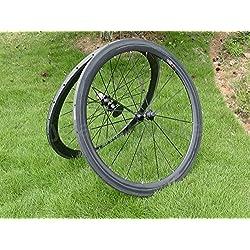 Full Carbon 3K Mate Bicicleta de carretera Tubular wheel rim 50mm Gris basalto freno lado ancho de 25mm Toray ruedas carbono para Shimano 8/9/10/11S