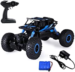 Mousepotato 1:18 4WD Rally Car Rock Crawler Off Road Race Monster Truck, Blue