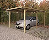 Carport Datura P711 - 90 x 90 mm Pfostenstärke, kesseldruckimprägniert, Grundfläche: 13,10 m², Flachdach
