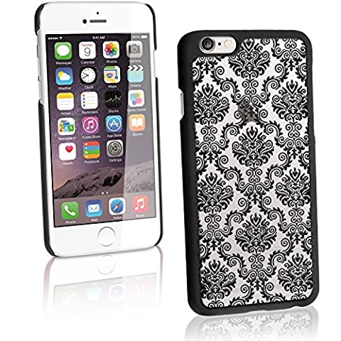 "igadgitz ""3D Designer Collection"" Noir Etui Housse Coque PC Damask pour Apple iPhone 6 & 6S 4.7"" Rigide Case Cover + Film de Protection"