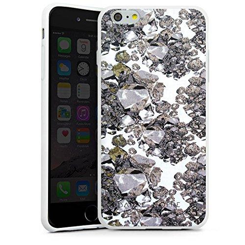 Apple iPhone X Silikon Hülle Case Schutzhülle Edelsteine Muster Steine Silikon Case weiß