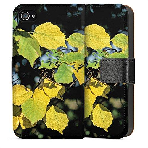 Apple iPhone 5s Housse Étui Protection Coque Feuilles Automne Bouleau Sideflip Sac