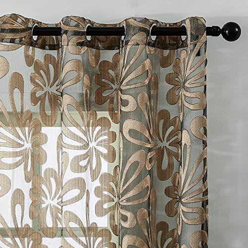 Topfinel Tende Voile Tenda Stampata Piccolo Floreale Fresco Tende Cucina Tende da Camera da Letto Soggiorno in Stile Rustico Occhiello,2 pannello-140x245cm,Marrone