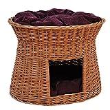 2-81-7 Ovale Katzenhöhle aus Weide von GalaDis. Mit zwei Kissen. Ein Katzenkorb für Ihre Katze zum Ruhen und Spielen / Katzenturm / Katzenbett