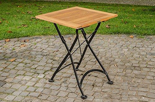CLP Table Pliable en Bois de Teck UTARA | Fabrication à la Main avec un Design Romantique | Table Pratique avec un support en Métal Galvanisé | Résiste aux Intempéries, 60 x 60 cm noir