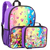 Emoji Rainbow Girls Backpack And Clear Pocket Insulated Lunchbox Lunch Bag - Kids