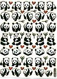 Panda Pandabär Bär Tiere bunt Aufkleber 57-teilig 1 Blatt 135 mm x 100 mm Sticker Basteln Kinder Party Metallic-Look