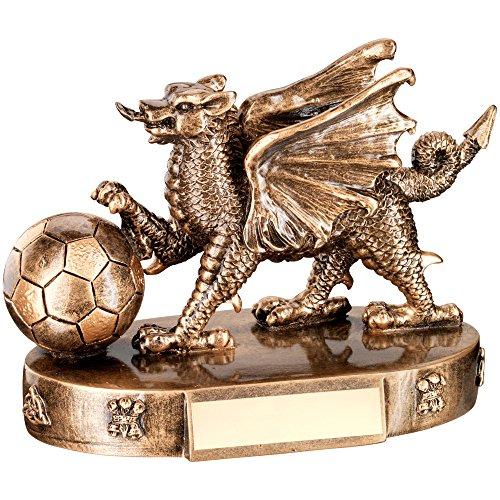 Bronzo/oro a forma di drago del Galles, trofeo con pallone da calcio, 127 mm, 12,7 cm, incisione fino a 30 lettere,