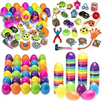 MJS® 50 Huevos de pascua brillante de plástico Surtido de artículos con color de fiesta para la caza de Pascua, Huevo de Crema Cada Huevo: 8 x 5.5cm, Mantendrá Huevo de Crema
