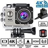 "Sport Action Camera 4K HD, Videocamera Wifi, 1080P/ 60 FPS, 720P/120 FPS, Fotocamera Digitale Impermeabile, 30M Waterproof,16Mp 14MP, LCD 2.0"", 170 Grandeangolare, Argenta"