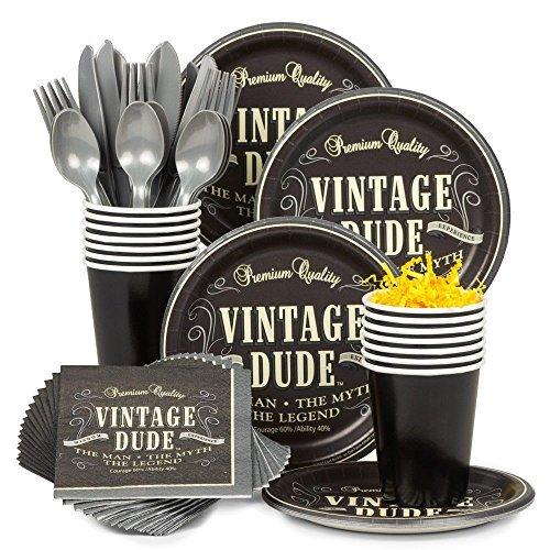 BBKIT687 Vintage Dude Birthday Party Standard Tableware Kit by Costume SuperCenter ()