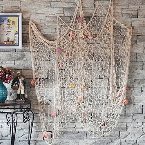 GZQ Deko-Fischernetz mit Muscheln, mediterraner Stil, Wanddekoration, Zuhause, ()