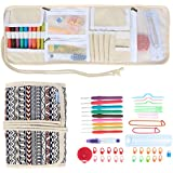 Teamoy Kit de crochet -- Trousse de rouleau avec cordon, 9psc Aiguilles à crochet (2-6mm) avec poignée en caoutchouc, Accessoires complètes à tricoter, Quatre compartiments, Facile à porter, Noir et rouge