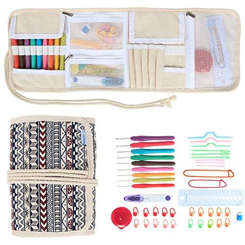 teamoy-ergonomico-uncinetti-gift-set-tela-wrap-organizer-con-impugnatura-morbida-crochet-aghi-e-magl