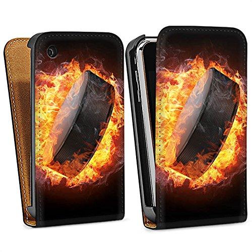 Apple iPhone 7 Hülle Silikon Case Schutz Cover Eishockey Flammen Slapshot Downflip Tasche schwarz