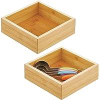 mDesign boite de rangement (lot de 2) – boite en bambou multifonctionnelle pour l'armoire, le tiroir ou à poser sur une…