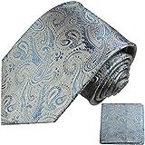 Paul Malone XL Krawatten Set 100% Seidenkrawatte jeansblau paisley (Überlänge 165cm) +Einstecktuch