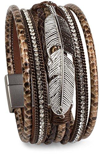 styleBREAKER weiches Armband mit Strasssteinen, Flechtelementen, Kette und Feder, Magnetverschluss, Damen 05040040, Farbe:Antik-Dunkelbraun