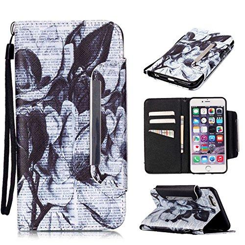 Kio iPhone 5S/SE, motivo: dipinto di viso, custodia a portafoglio con cinghia, per iPhone 5S e SE, in pelle PU, a portafoglio, con funzione di supporto, chiusura magnetica, con porta carte di credito, P-08