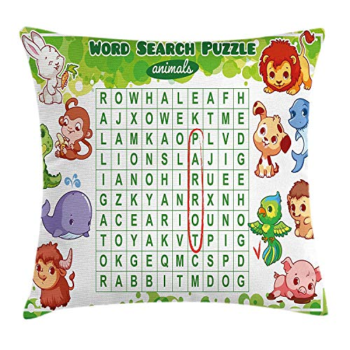 Word Search Puzzle Throw Pillow Cushion Cover, Educational Game for Kids Children Cute Sweet Animals Worksheet Print, Decorative Square Accent Pillow Case, 18 X 18 inches, Multicolor (Word Halloween Search)