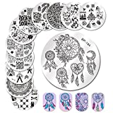 BORN PRETTY Nail Art Stamp Templates Stamping Image 12Pcs Round Flower Leaves Lace Cute Animal Christmas Stamp Plates