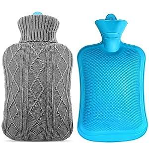 Mture bouillotte caoutchouc avec housse tricot e 2 l gris cuisine maison for Housse bouillotte tricot