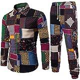 VEMOW Sommer Herbst Winter Mens Casual Langarm Shirt Business Täglich Sport Dating Coole Hübsch Slim Fit Shirt Print Bluse Top + Hosen(Mehrfarbig, EU-46/CN-L)