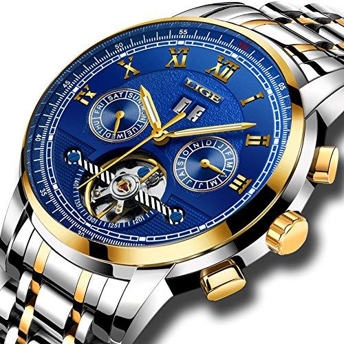 Uhren für Herren, Edelstahl Wasserdicht Uhr LIGE Mode Sportuhr Lässig Männer Automatik Mechanisch Skeleton Luxus Armbanduhren Tourbillon Blau Zifferblatt Gold Silber (Herren Uhr Silber Zifferblatt)