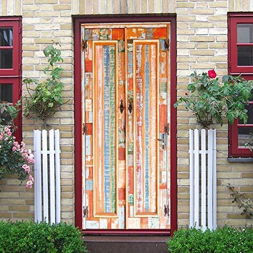 3D türaufkleber bad - Vintage Orange Holztür Tür Aufkleber Wohnzimmer Türen Dekorative Poster Wasserdichte Kunst Tapete für Schlafzimmer - DIY Druck Vinyl Abnehmbare -
