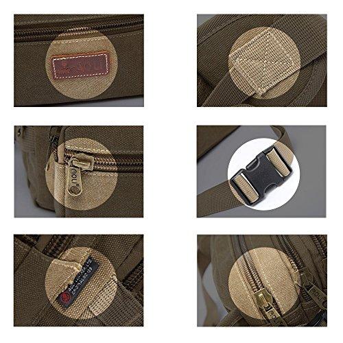 Marsupio multiple tasca borsa da viaggio sport all' aria aperta da uomo tela petto borsa, Khaki, S Khaki