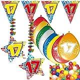 Carpeta 54-Teiliges Partydeko Set * Zahl 17 * für Geburtstag Oder 17. Geburtstag mit Girlande, Rotorspiralen, Luftschlangen und Vielen Luftballons