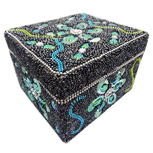 scatola di gioielli indiani custodia accessorio annata lac stile di tabella di perline top grigio scatole decorate articoli da regalo artigianali delle donne