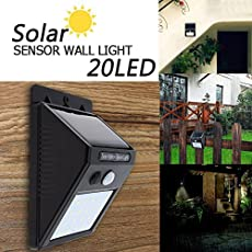 Sampri Solar Wireless Security Motion Sensor Night Light - 20 LEDs Bright and Waterproof for Outdoor/Garden Wall - Pack of 20 LED