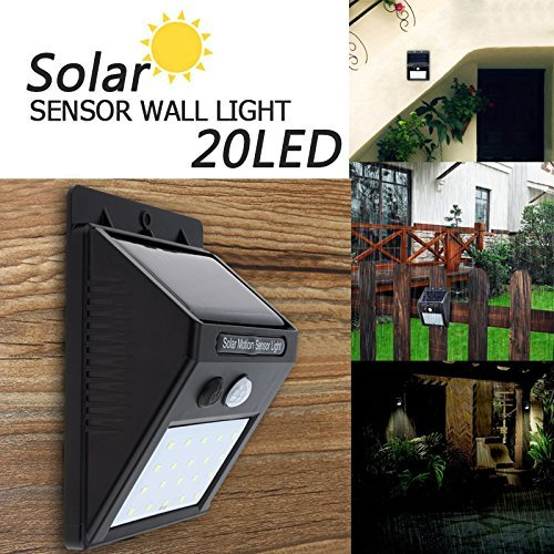 Divinext Solar High Brightness Wall Light Motion Sensor 20 White LED Outdoor Motion Sensor Lighting for Wall , Patio, Garden, Landscape, Deck, Shed, Lawn(