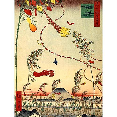nting Japanese Woodblock Flags Wind Art Print Poster Wall Decor Kunstdruck Poster Wand-Dekor-12X16 Zoll ()