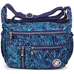 ABLE Mujer Bolsos de Moda Impermeable Mochilas Bolsas de Viaje Bolso Bandolera Sport Messenger Bag Bolsos Mano para Tablet Escolares Nylon (2-Azul Hojas de bambú)