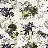 Hans-Textil-Shop Stoff Meterware Lavendel Strauß Noten