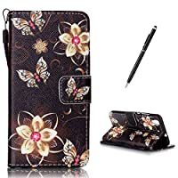 HUAWEI Y6 II/Honor 5A Case [Free Black Stylus],CaseHome PU Leather Flip Magnetic Detatchable Wallet Designer with Credit Card Slots and Wrist Lanyard Strip Stand Feature Shock Absorber Full Body Protective Folding Case Cover Skin Shell for HUAWEI Y6 II/Honor 5A-Gold Butterfly Flowers