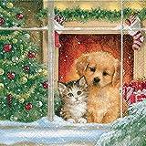 Servietten Christmas morning – Wintertag am Fenster / Weihnachten / Hund / Katze