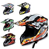 Hecht Motocrosshelm 53915 Motorrad-Helm Enduro ABS Quadhelm (S (55-56 cm), orange/schwarz / weiß)