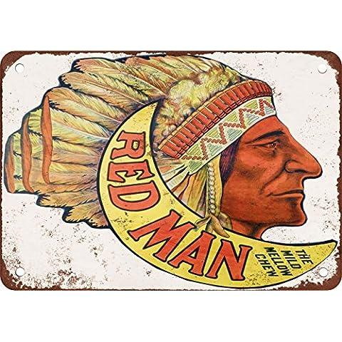 Rojo Hombre Masticar tabaco aspecto Vintage reproducción Metal Tin Sign 7X 10pulgadas