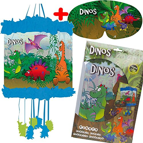 Pinata * DINOS * - als Zugpinata für bis zu 7 Kinder - plus Maske. Wird mit Süssigkeiten oder Spielen gefüllt, ca. 28cm Durchmesser // Piñata Mexiko Kinder Geburtstag Kindergeburtstag Spiele Spass T-Rex Triceratops Alamosaurier Saurier Dinosaurier