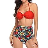 AIni Traje de Baño Boho de Dos Piezas Mujer BañAdor Estampado Floral Conjunto de Frill Bikini Sujetador Acolchado Traje de Ba
