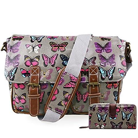 Miss Lulu Ladies Butterfly Polka Dots Cat Flower Oilcloth Messenger Satchel Cross Body School Bag Purse Wallet Set (Butterfly Grey Set)